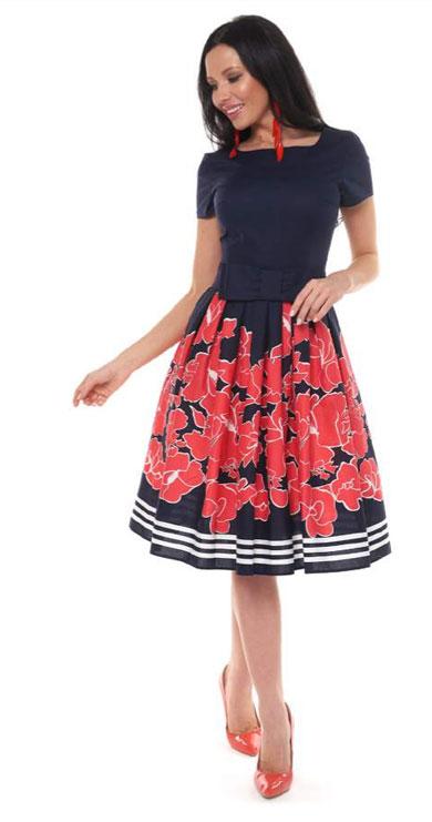 1001 7037 1 - Платье средней длины из хлопка 1001-7037