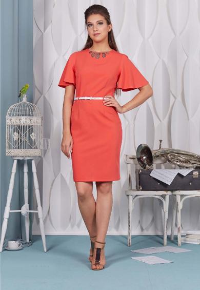 66401 1 - Коралловое платье 66401