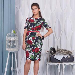 """73211 300x300 - Платье черное с принтом """"Розы"""""""