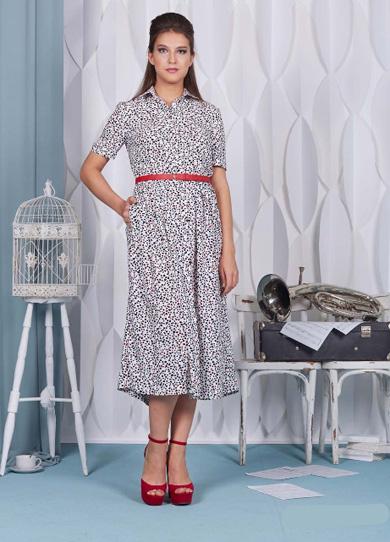 """75101 1 - Белое платье 75101 с принтом """"Камушки"""""""
