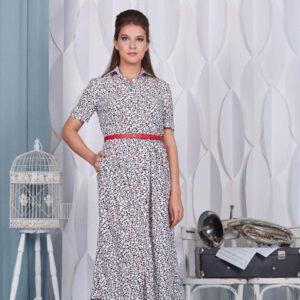 """75101 300x300 - Белое платье 75101 с принтом """"Камушки"""""""