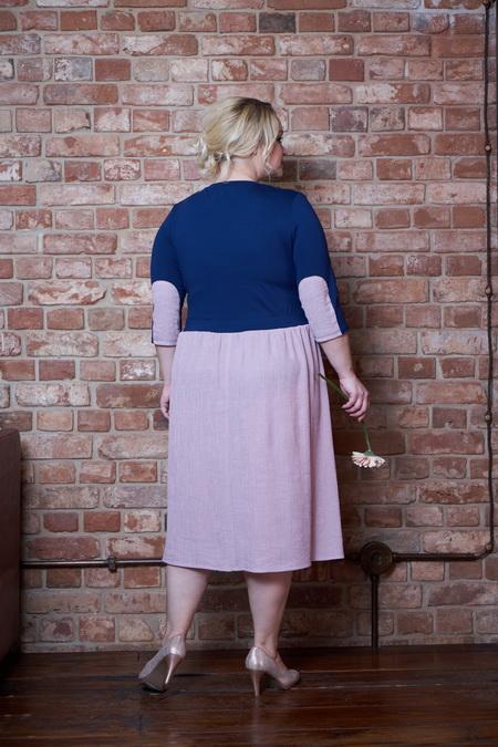 plate klara sinij rozovyj 6 - Платье Клара сине-розовое
