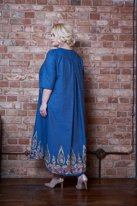 plate sheona goluboj vyshivka 2 - Платье Шеона голубое с вышивкой