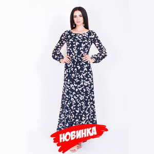 Платье синее с бабочками LV-ALDS 8060