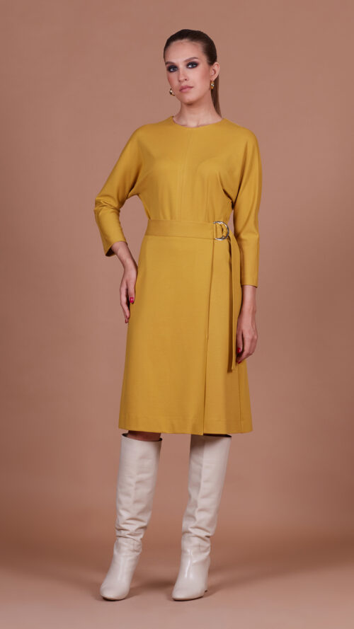 Платье горчичное 35103