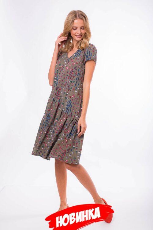 275645720190312152306 500x749 - Платье-трапеция в цвете хаки