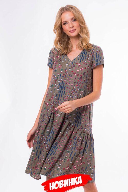 535953120190312152306 500x749 - Платье-трапеция в цвете хаки