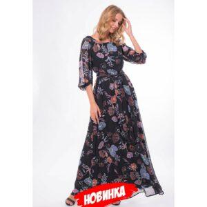 bez imeni20 300x300 - Платье черное с цветочным принтом